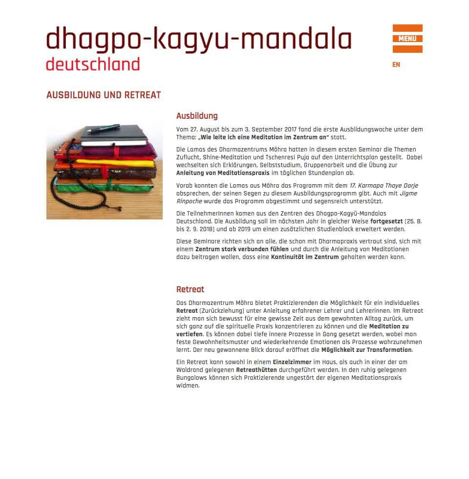 Ausbildung und Retreat - Dhagpo Kagyu Mandala | aha-projects-webdesign