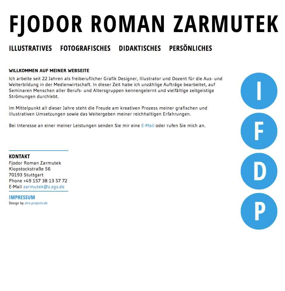Fjodor Roman Zarmutek - Startseite der Website