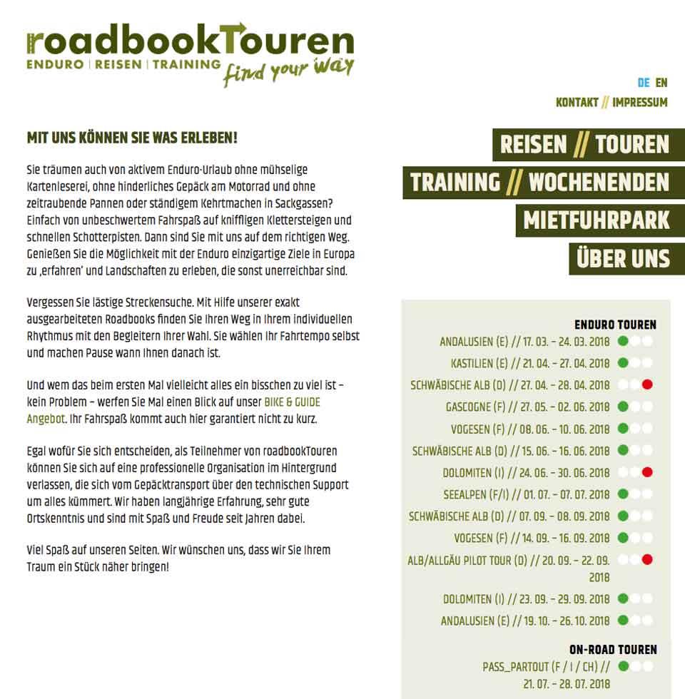 RoadbookTouren - Mit uns können Sie was erleben | aha-projects-webdesign