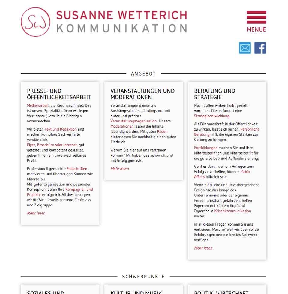 Susanne Wetterich, Startseite der Website | aha-projects-webdesign